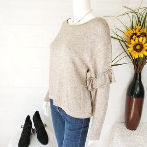 NWOT Zara pullover soft knit sweater ruffle sleeve